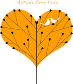Love tree with a couple of birds. — Stock Vector