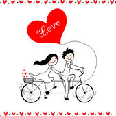 Doodle lovers: a boy and a girl riding tandem bicycle. — Stockvektor