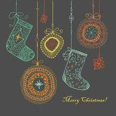 Fondo de navidad adornos y calcetines. — Vector de stock