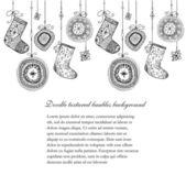 Christmas baubles und socken nahtlose linie. — Stockvektor