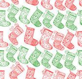 Natale rosso e verde calze modello senza saldatura — Vettoriale Stock