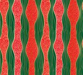 Doodle inconsútil de rayas y remolinos patrón de navidad. — Vector de stock