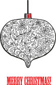 Doodle textured Christmas bauble background. — Stok Vektör