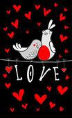 Doodle pár ptáků mezi srdce. — Stock vektor