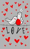 Doodle fåglar par bland hjärtan. — Stockvektor
