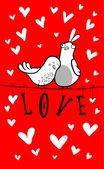 Couple d'oiseaux doodle parmi les coeurs — Vecteur