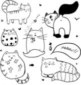 Doodle cute cats background. — Stock Vector