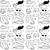 Doodle cute cats seamless pattern. — Vetorial Stock