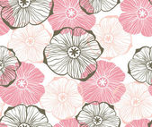 Doodle graphical pink flowers seamless pattern — Stock Vector