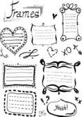 Hand drawn doodle frames set. — Stock Vector