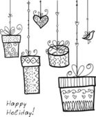 Cajas de regalo decorativo doodle. — Vector de stock