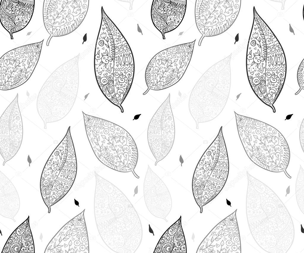 涂鸦纹理的树叶无缝模式 — 图库矢量图片#31958707