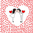 Doodle kissing couple with hearts. — Stockvectorbeeld