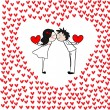 Doodle kissing couple with hearts. — Stock Vector