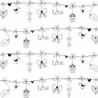 Hand drawn doodle Valentine's elements. — Stock vektor