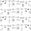 Hand drawn doodle Valentine's elements. — Stockvectorbeeld