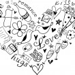 Hand drawn doodle heart shaped Valentine's elements.  — Stock Vector
