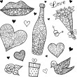 Doodle love (valentine) elements. — Stock Vector