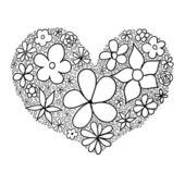 Doodle corazón hecho de flores. — Vector de stock