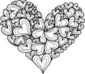 Doodle harten gemaakt van harten. — Stockvector