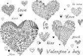 Set di cuori doodle testurizzati. — Vettoriale Stock
