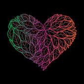 Doodle hart gemaakt van bladeren. — Stockvector