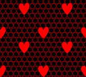 Red hearts seamless lace pattern. — Stock Vector