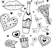 Doodle elementos de amor (san valentín. — Vector de stock