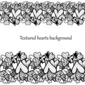 Doodle textured hearts seamless decorative line. — Stock Vector