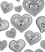 Doodle textured hearts seamless pattern. — Διανυσματικό Αρχείο