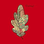 Doodle textured oak leaf. — Stock Vector