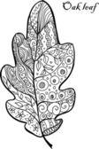 Doodle textured oak leaf. — Stockvektor
