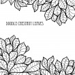 Doodle seamless chestnut leaves background. — Stock Vector