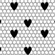 Mesh with hearts seamless pattern. — Stok Vektör