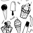 Doodle ice cream set. — Stock Vector