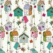 Doodle nesting boxes with birds seamless pattern. — Stockvectorbeeld