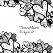 Doodle textured hearts background. — Stock Vector #31999327