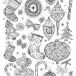 Stock Vector: Doodle textured Christmas elements.