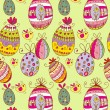 Doodle decorative colorful eggs for Easter seamless pattern — Stock Vector