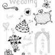 Doodle wedding elements — Stock Vector