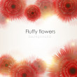 Fluffy bright red shiny flowers with light spectrums background. — Stock vektor