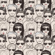 Doodle crowd in sunglasses  — Imagen vectorial