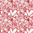 Doodle textured hearts seamless pattern. — Stock Vector #31999865