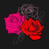 3 玫瑰黑色背景上. — 图库矢量图片