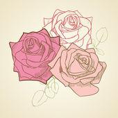 3 rosor i vintage blekt rosa och beige pastellfärger bakgrund. — Stockvektor