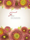 Colorful red-purple-yellow buttercup flowers background. — Stockvector
