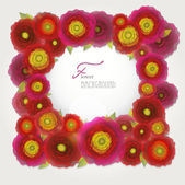 Colorful red-purple-yellow buttercup flowers background-frame. — Stockvector