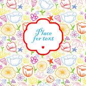Fond de fleurs pour le contour coloré doodle. — Vecteur