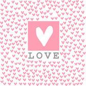 落書きピンクの心背景カード. — ストックベクタ