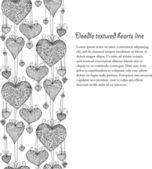 Doodle teksturowanej serca bez szwu linii. — Wektor stockowy